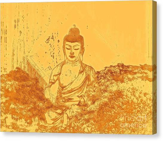 Meditate Canvas Print - Warm Buddha by Magda Van Der Kleij