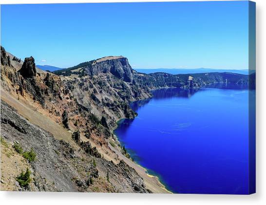 Canvas Print featuring the photograph West Rim Of Crater Lake by Dawn Richards
