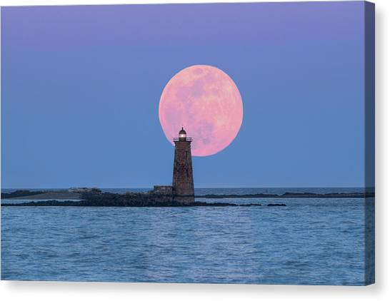 Whaleback And The Worm Moon Canvas Print