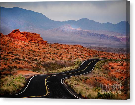 Winding Road In Valley Of Fire Canvas Print