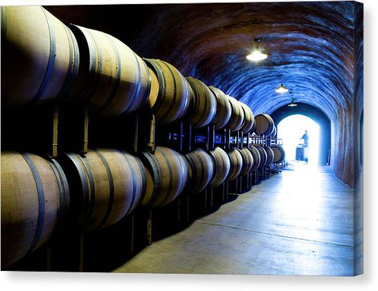 Sonoma Valley Canvas Print - Wine Cave With Oak Barrels In Napa by Seanfboggs