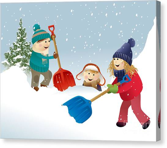 Winter Fun Canvas Print - Winter Background With Playing Kids by Jagoda
