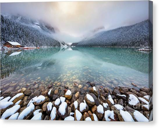 Foggy Forests Canvas Print - Winter Morning At Lake Louise by Inge Johnsson