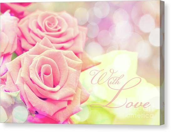 Wedding Bouquet Canvas Print - With Love by Delphimages Photo Creations
