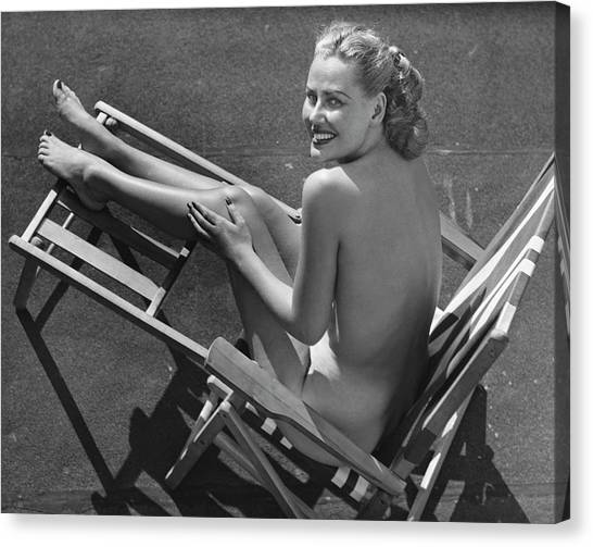 Woman In Beach Chair Canvas Print by George Marks