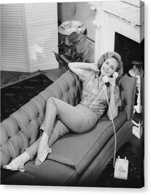Woman Talking On Telephone Canvas Print