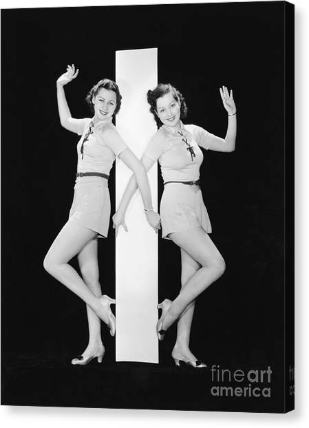 Women Posing With Big Letter I Canvas Print by Everett Collection