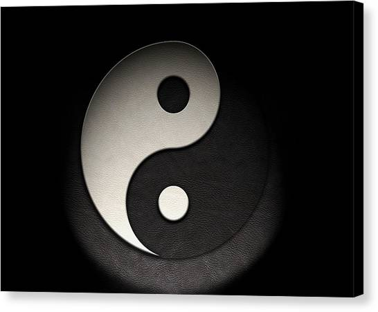 Canvas Print featuring the photograph Yin Yang Symbol Leather Texture by Brian Carson