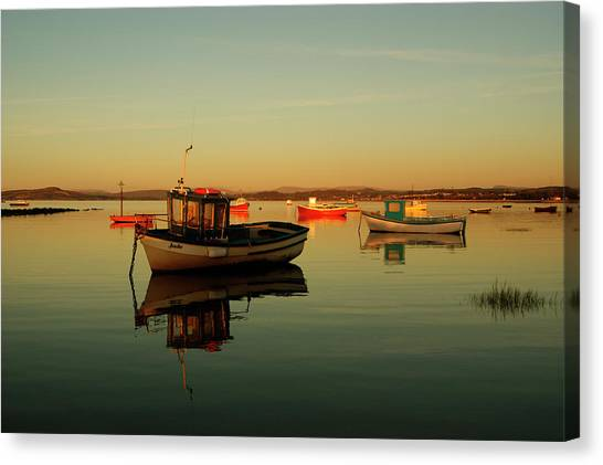 10/11/13 Morecambe. Boats On The Bay. Canvas Print