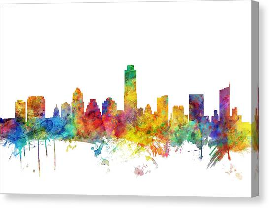 Austin Canvas Print - Austin Texas Skyline by Michael Tompsett