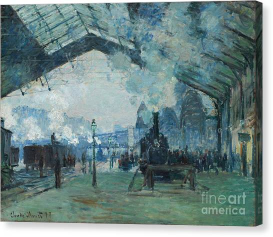 Canvas Print featuring the digital art Arrival Of The Normandy Train, Gare Saint-lazare by Claude Monet