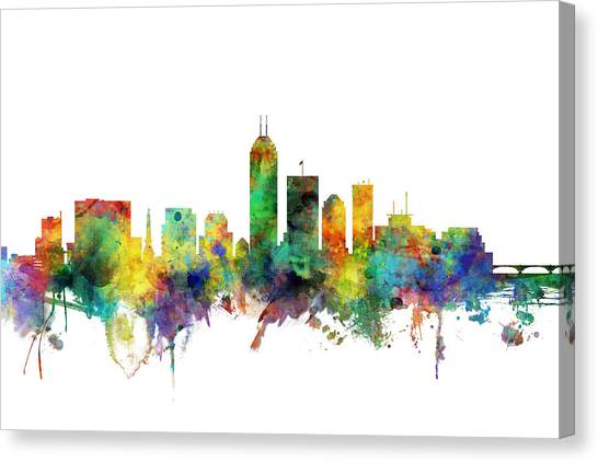 Indianapolis Canvas Print - Indianapolis Indiana Skyline by Michael Tompsett