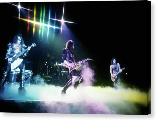 Kiss Performing Canvas Print by Michael Ochs Archives