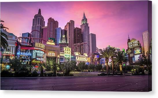 Canvas Print featuring the photograph New York City Skyline In Las Vegas Nevada by Alex Grichenko