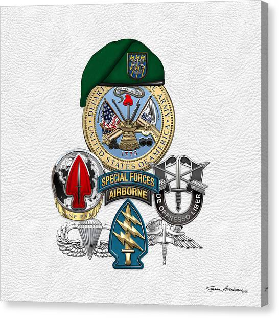 Special Forces Canvas Print - 12th Special Forces Group - Green Berets Special Edition by Serge Averbukh