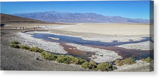 Canvas Print featuring the photograph Badwater Basin Death Valley National Park California by Alex Grichenko