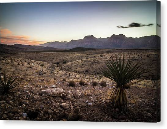 Canvas Print featuring the photograph Red Rock Canyon Las Vegas Nevada At Sunset by Alex Grichenko