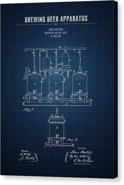 Brewery Canvas Print - 1873 Brewing Beer Apparatus - Dark Blue Blueprint by Aged Pixel