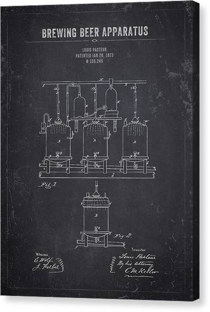 Brewery Canvas Print - 1873 Brewing Beer Apparatus - Dark Charcoal Grunge by Aged Pixel