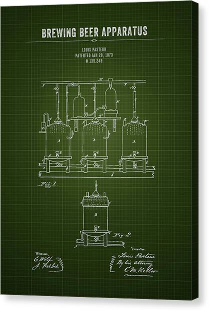 Brewery Canvas Print - 1873 Brewing Beer Apparatus - Dark Green Blueprint by Aged Pixel