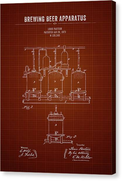 Brewery Canvas Print - 1873 Brewing Beer Apparatus - Dark Red Blueprint by Aged Pixel