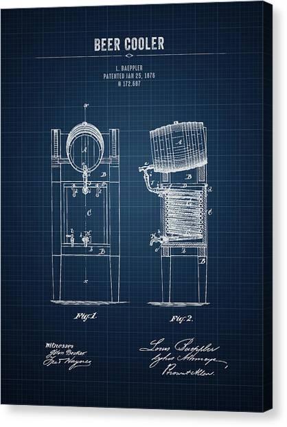 Brewery Canvas Print - 1876 Brewing Cooler - Dark Blue Blueprint by Aged Pixel