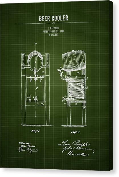 Brewery Canvas Print - 1876 Brewing Cooler - Dark Green Blueprint by Aged Pixel