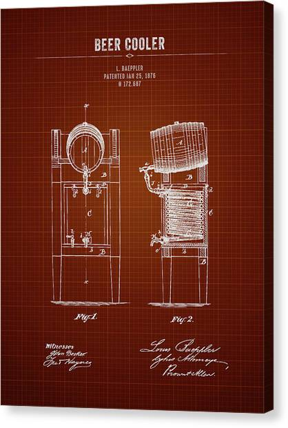 Brewery Canvas Print - 1876 Brewing Cooler - Dark Red Blueprint by Aged Pixel