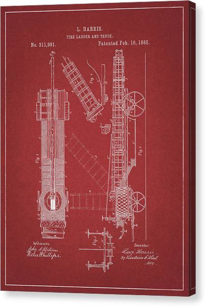 Nyfd Canvas Print - 1885 Fire Truck Patent by Dan Sproul