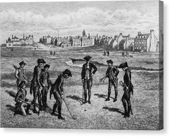 18th Century Golfers Canvas Print by Hulton Archive