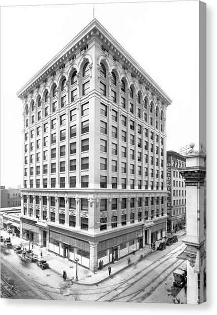 China Town Canvas Print - 1912 Central Building  Los Angeles  Ca by Celestial Images