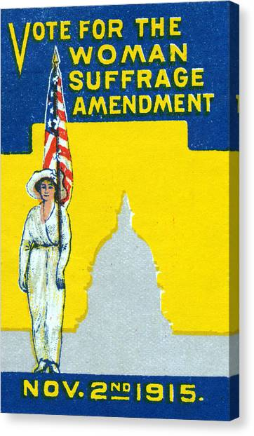 Womens Rights Canvas Print - 1915 Vote For Woman Suffrage Amedment by Historic Image