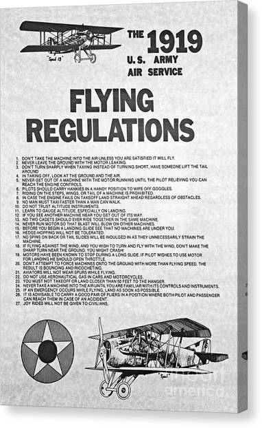 1919 Flying Regulations Poster Canvas Print