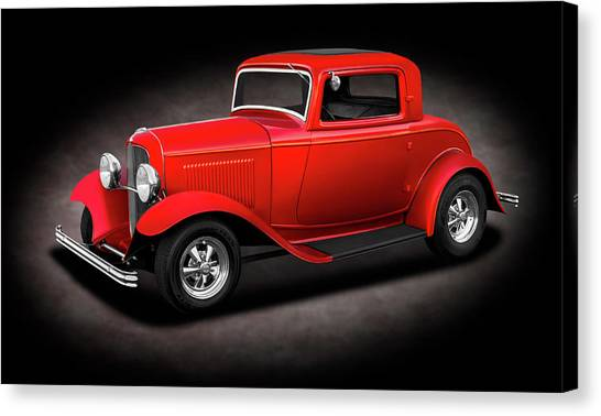 1932 Ford 3 Window Coupe  - 1932fordthreewindowcpespttext186144 Canvas Print