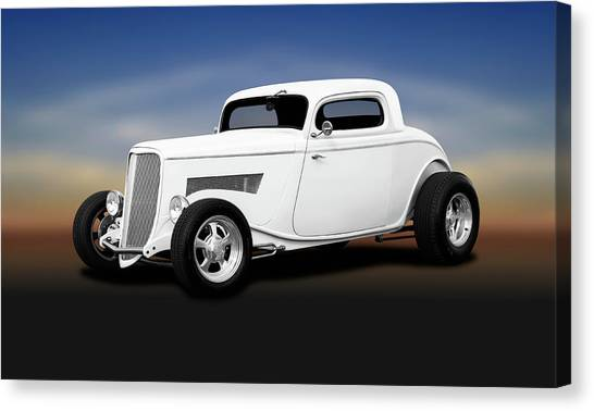 1933 Ford 3 Window Coupe   -  1933ford3windowcoupewhite196599 Canvas Print by Frank J Benz