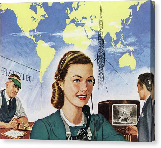 1940s Communication Technology Canvas Print