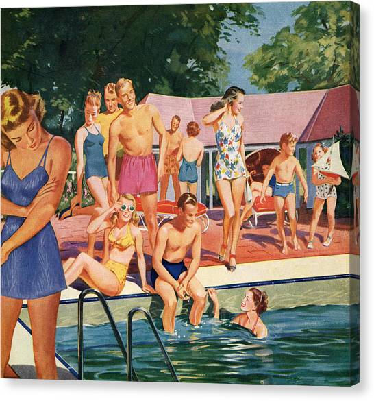 1940s Pool Party Canvas Print
