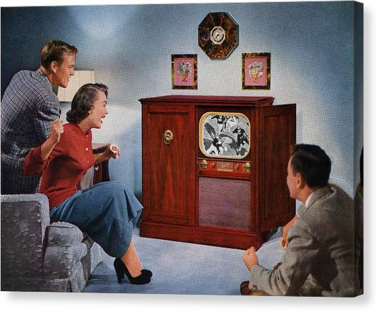 1950s Family Watching Football Canvas Print