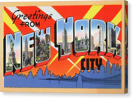 1950s Nyc Tourist Postcard Canvas Print