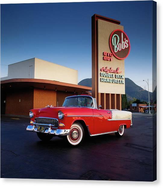1955 Chevrolet Bel Air Convertible At Canvas Print