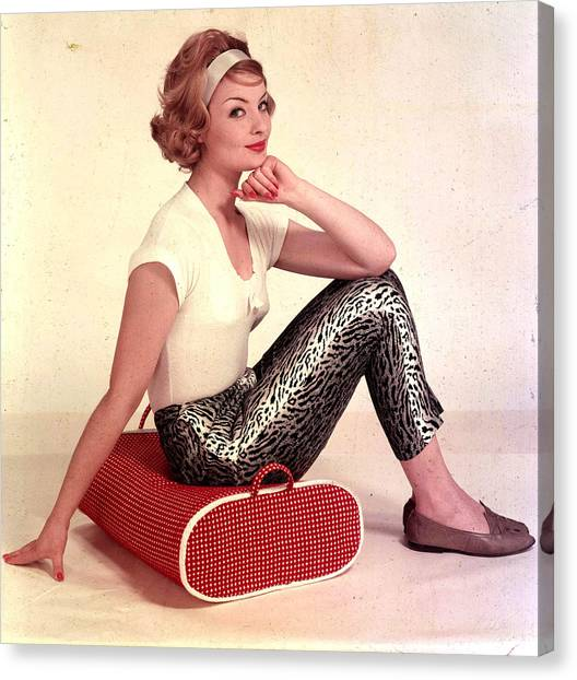 1959. A Portrait Of A Woman Sitting On Canvas Print