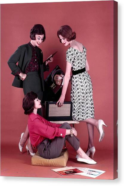 1959. Three Attractive Dark Haired Canvas Print