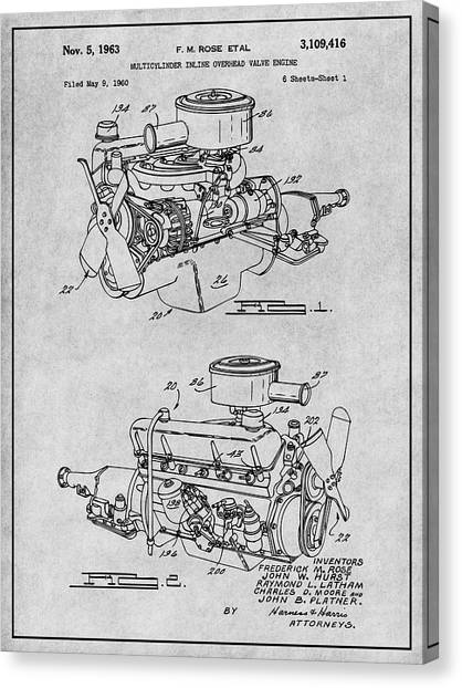 shop decor canvas print - 1960 chrysler 220 slant six engine gray patent  print by greg