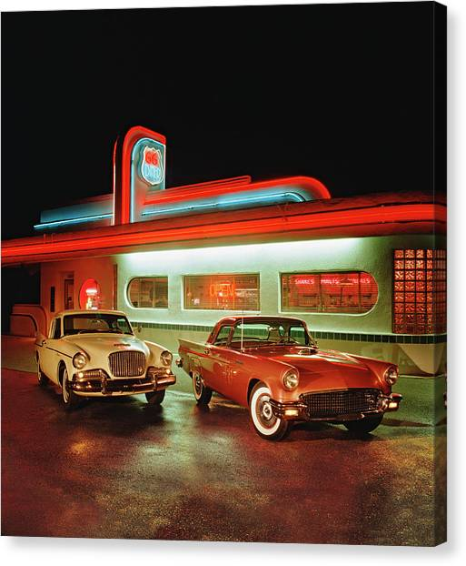 1960 Studebaker Hawk And 1957 Ford Canvas Print