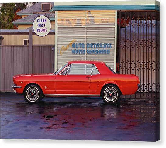 1964 12 Ford Mustang Coupe At Billys Canvas Print