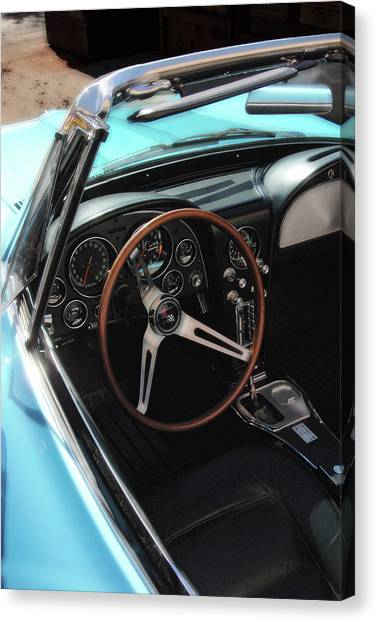 Canvas Print featuring the photograph 1965 Chevrolet Corvette Convertible - Driver Side by Angie Tirado