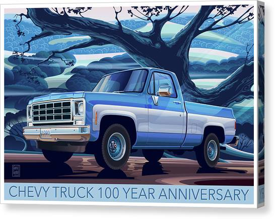 Rolling Hills Canvas Print - 1980 Chevy Custom C10 Short Bed Poster Art by Garth Glazier
