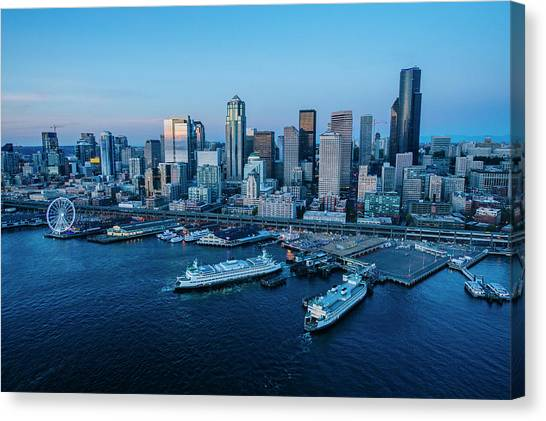Canvas Print - Aerial View Of A City, Seattle, King by Panoramic Images