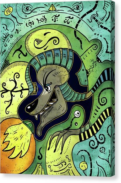 Canvas Print featuring the digital art Anubis by Sotuland Art