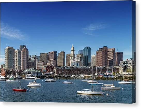 Boston Skyline North End And Financial District Canvas Print by Melanie Viola